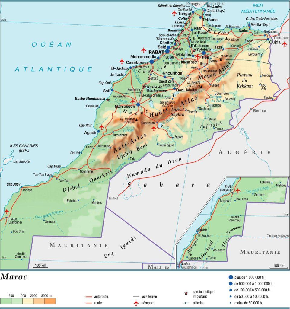 Carte géographique du Sahara Occidental