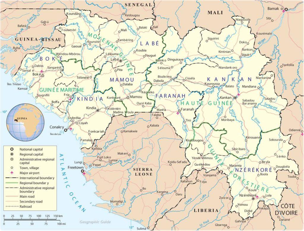 Carte politique de Guinée