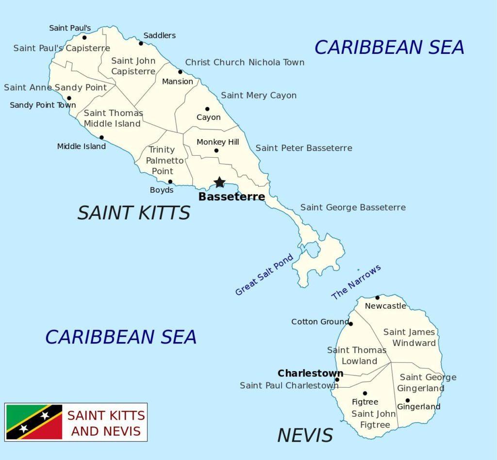 Carte des régions de Saint-Christophe-et-Niévès
