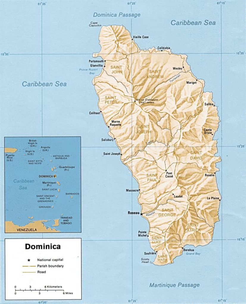 Carte du relief de la Dominique
