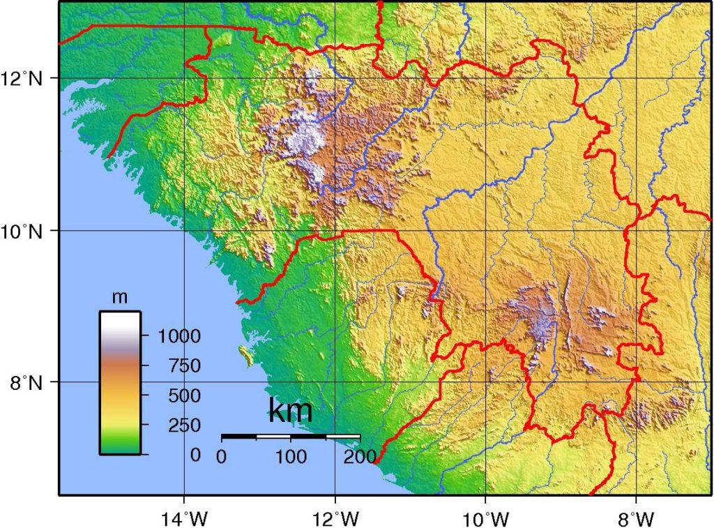 Carte du relief de la Guinée