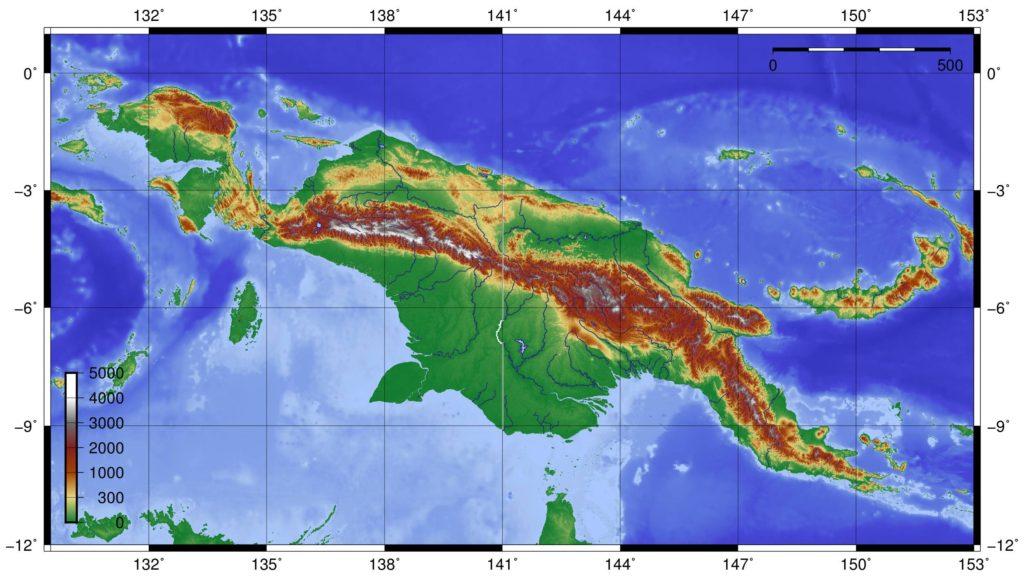 Carte du relief de la Papouasie-Nouvelle-Guinée