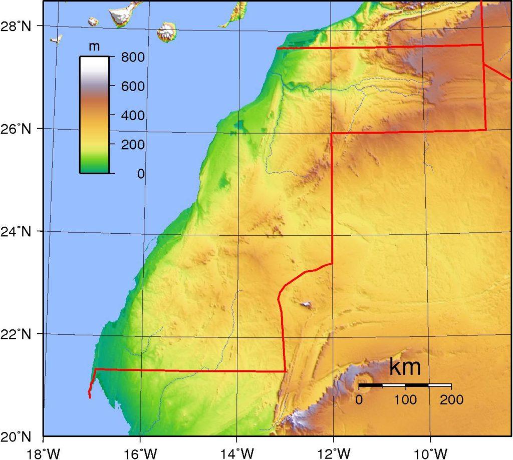 Carte du relief du Sahara Occidental