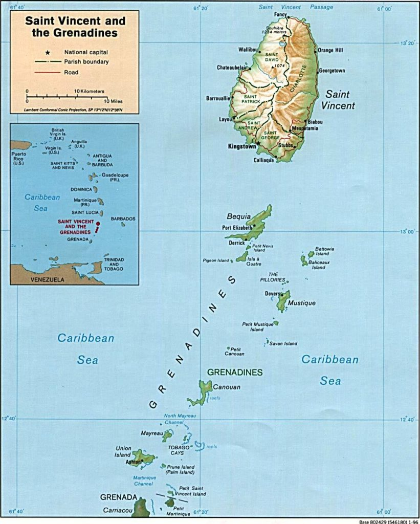 Carte du relief de Saint-Vincent-et-les-Grenadines