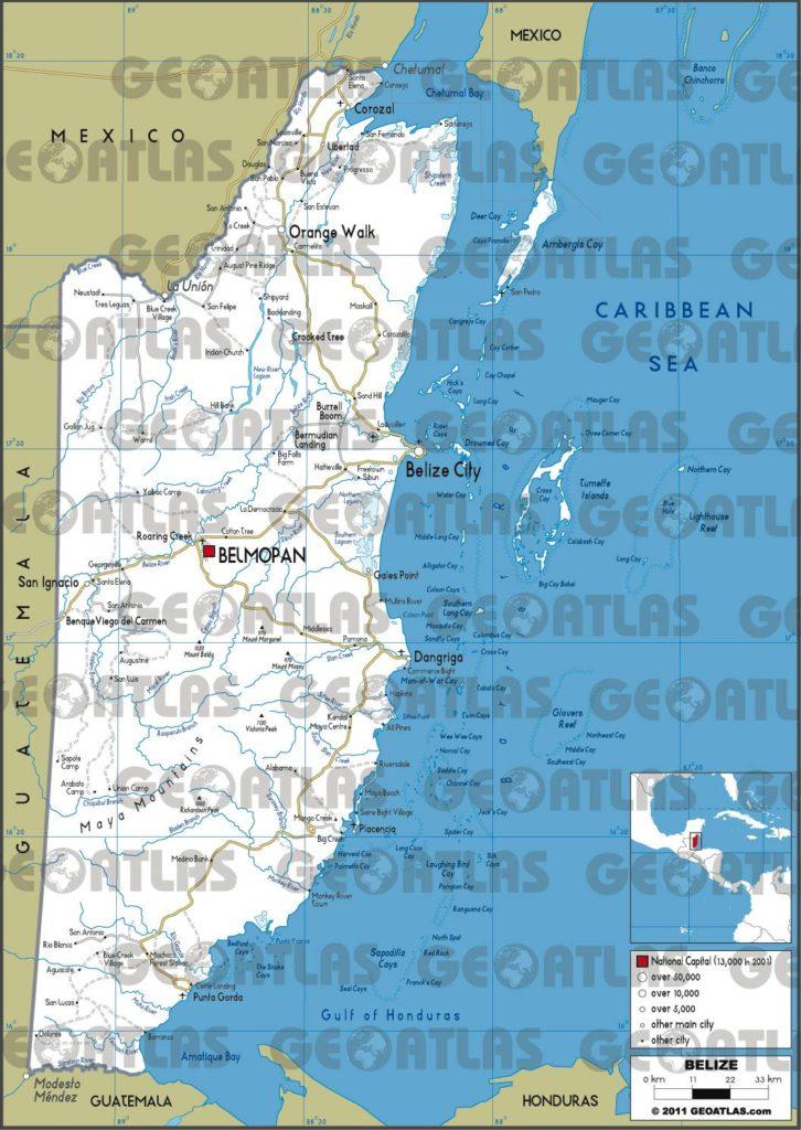 Carte routière du Belize