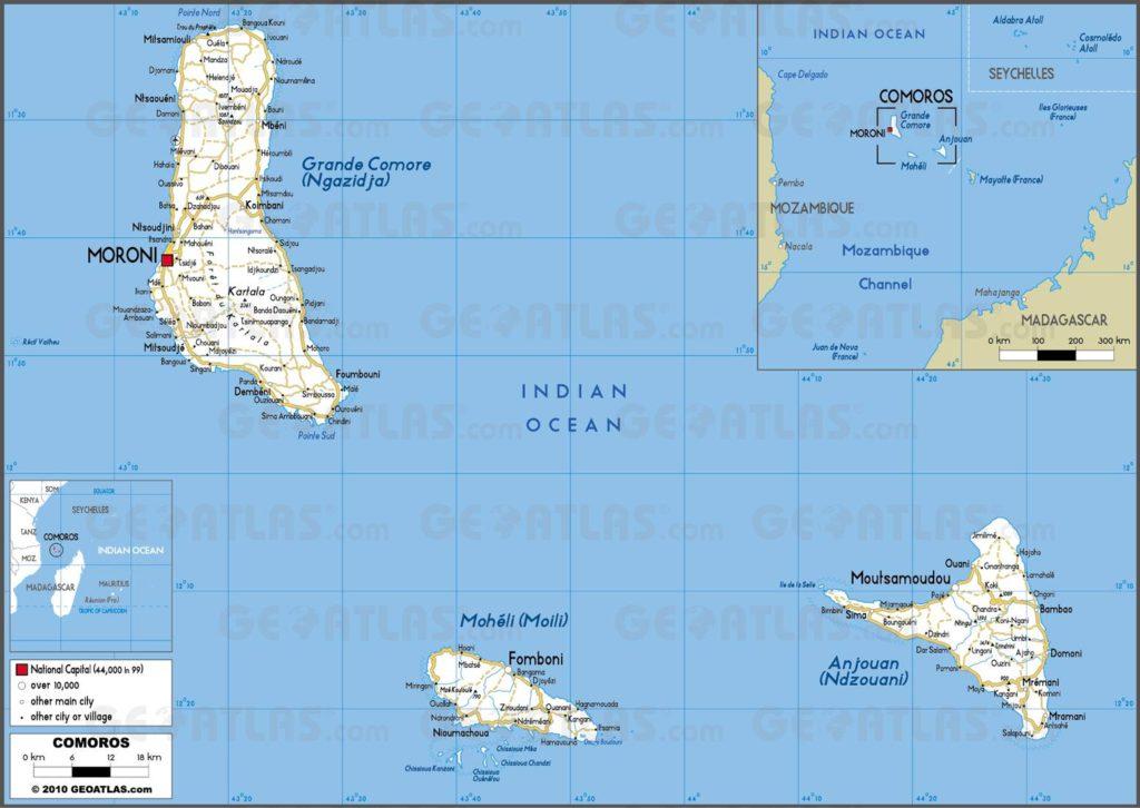 Carte routière des Comores