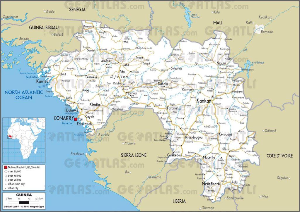 Carte routière de la Guinée