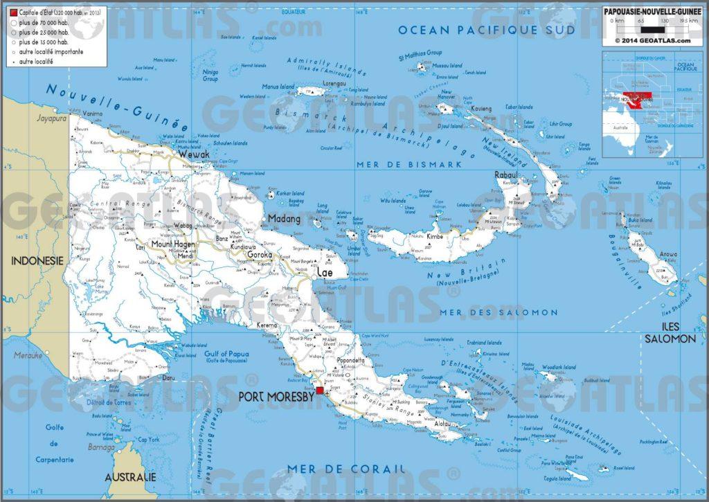 Carte routière de la Papouasie-Nouvelle-Guinée
