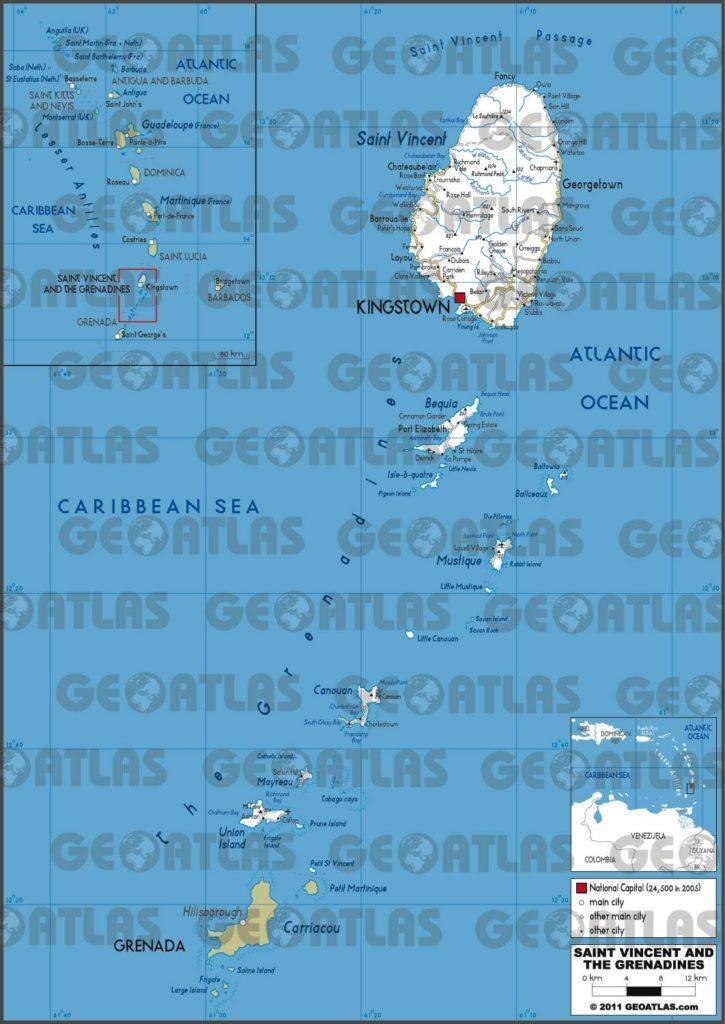 Carte routière de Saint-Vincent-et-les-Grenadines