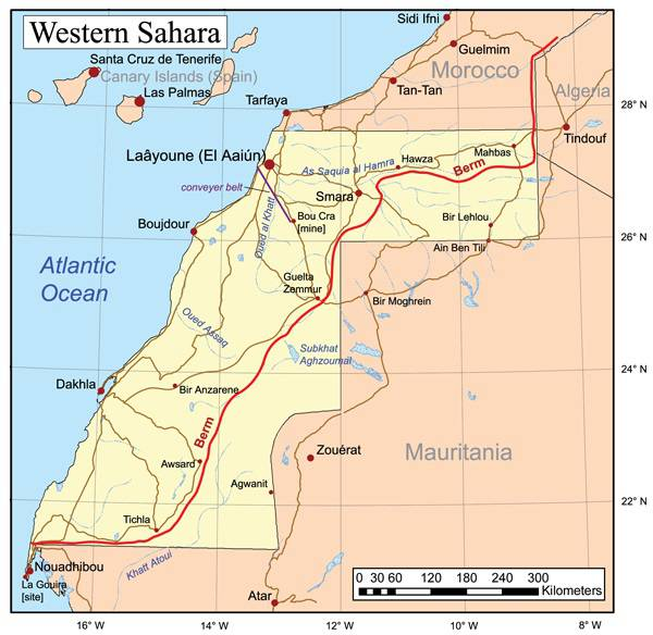 Carte du Sahara Occidental
