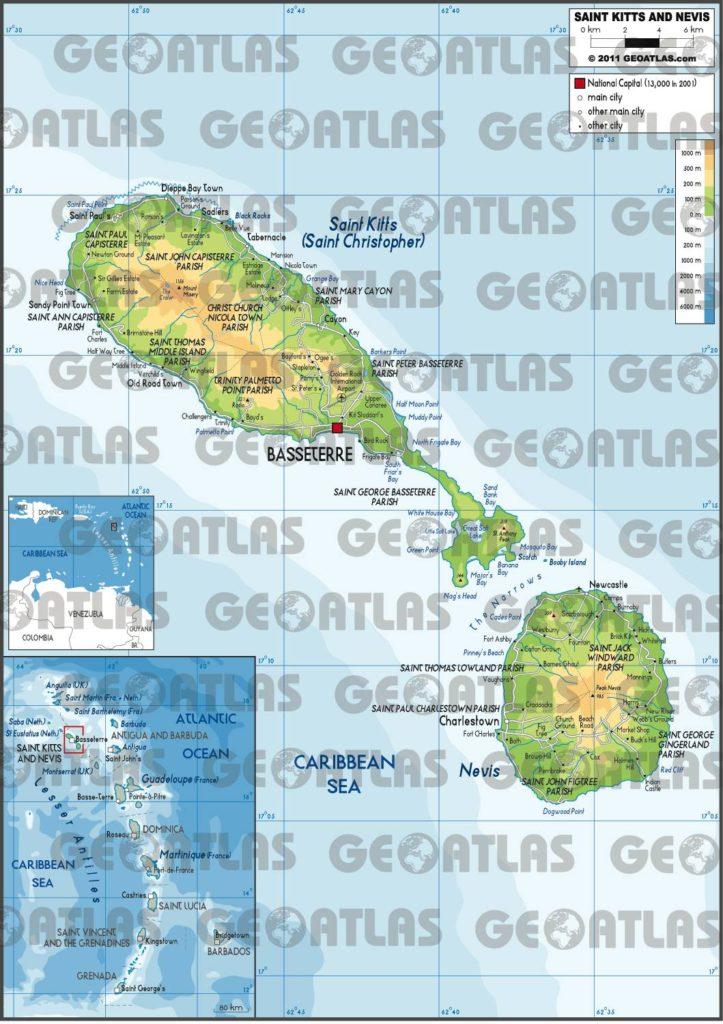 Carte de Saint-Christophe-et-Niévès