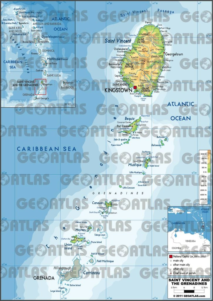 Carte de Saint-Vincent-et-les-Grenadines