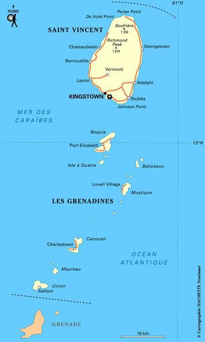 Carte tourtistique de Saint-Vincent-et-les-Grenadines