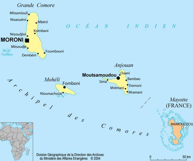 Carte des villes des Comores