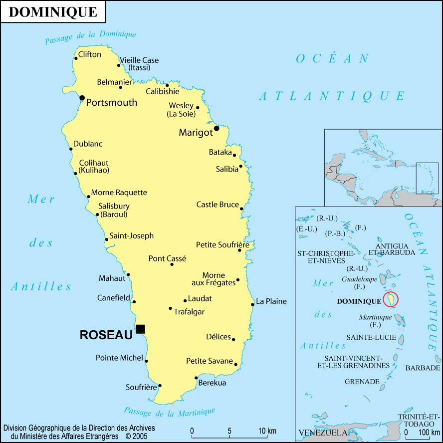 Carte de la Dominique