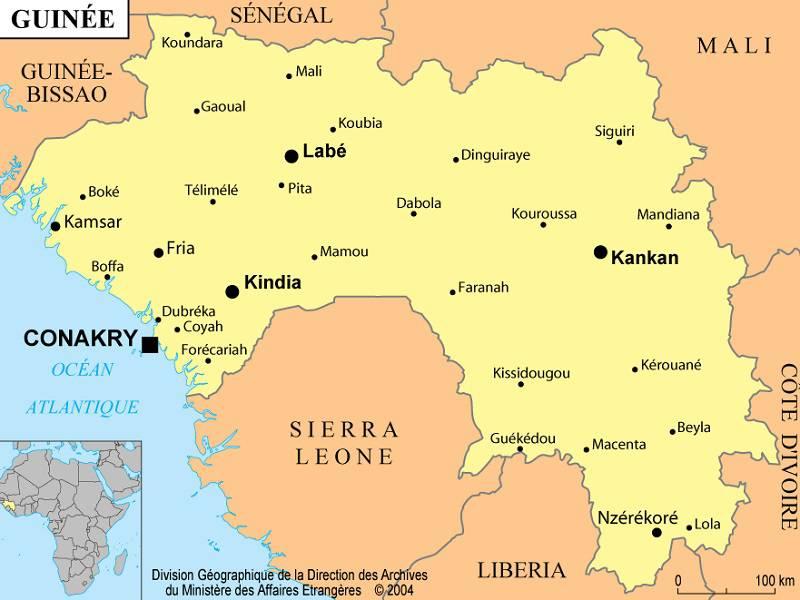 Carte des villes de la Guinée