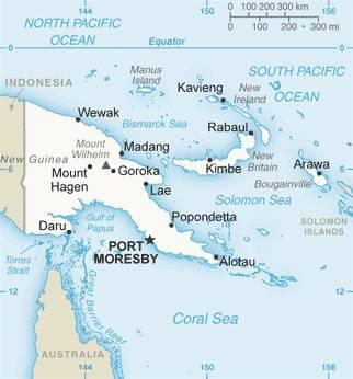 Carte des villes de la Papouasie-Nouvelle-Guinée