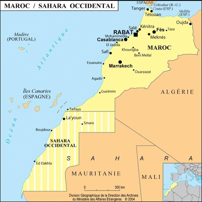 Carte des villes du Sahara Occidental