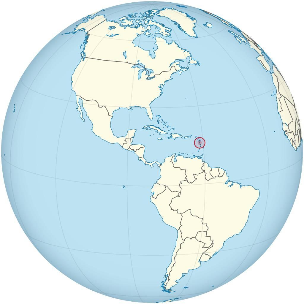 Dominique sur une carte de l'Amérique