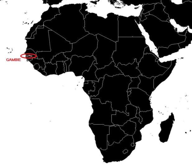 Gambie sur une carte Afrique