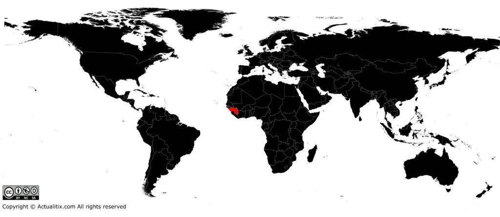 Guinée sur une carte du monde