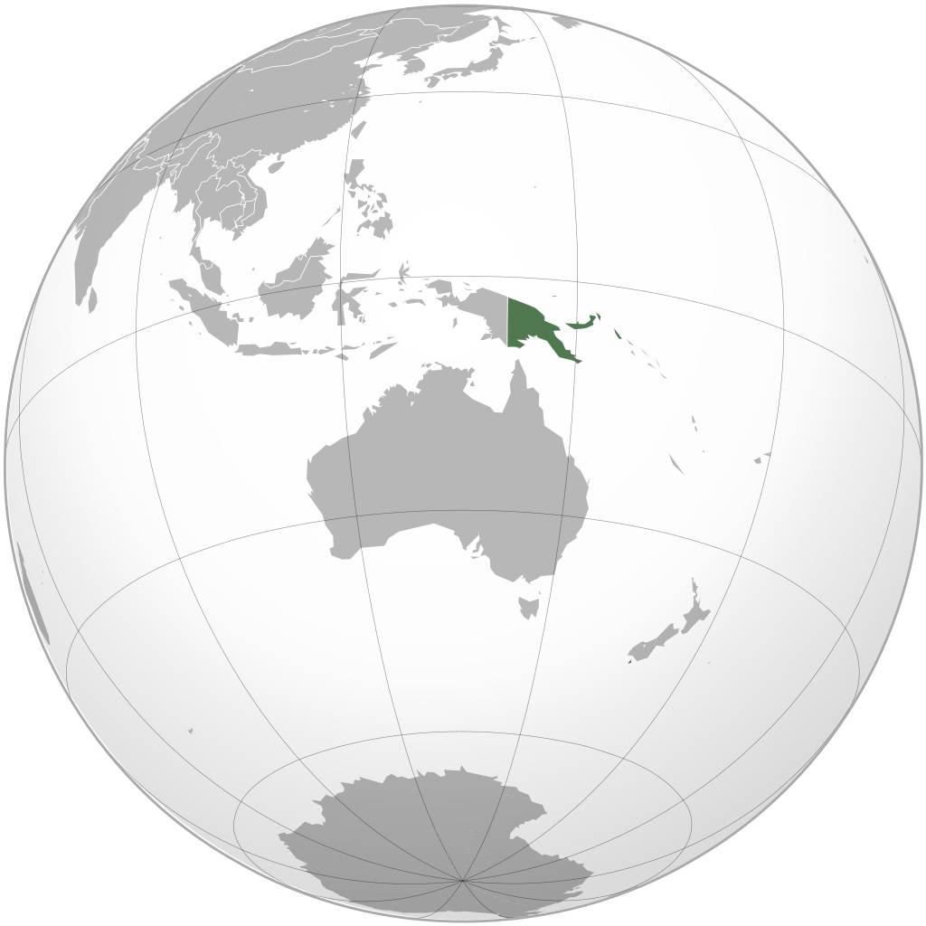 Papouasie-Nouvelle-Guinée sur une carte d'Océanie