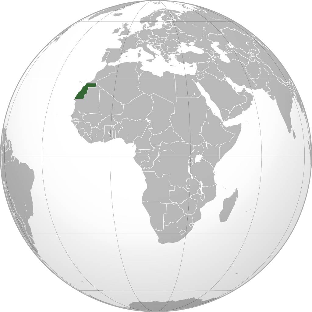 Sahara Occidental sur une carte de l'Afrique