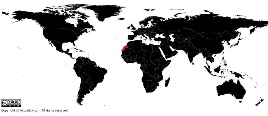 Sahara Occidental sur une carte du monde