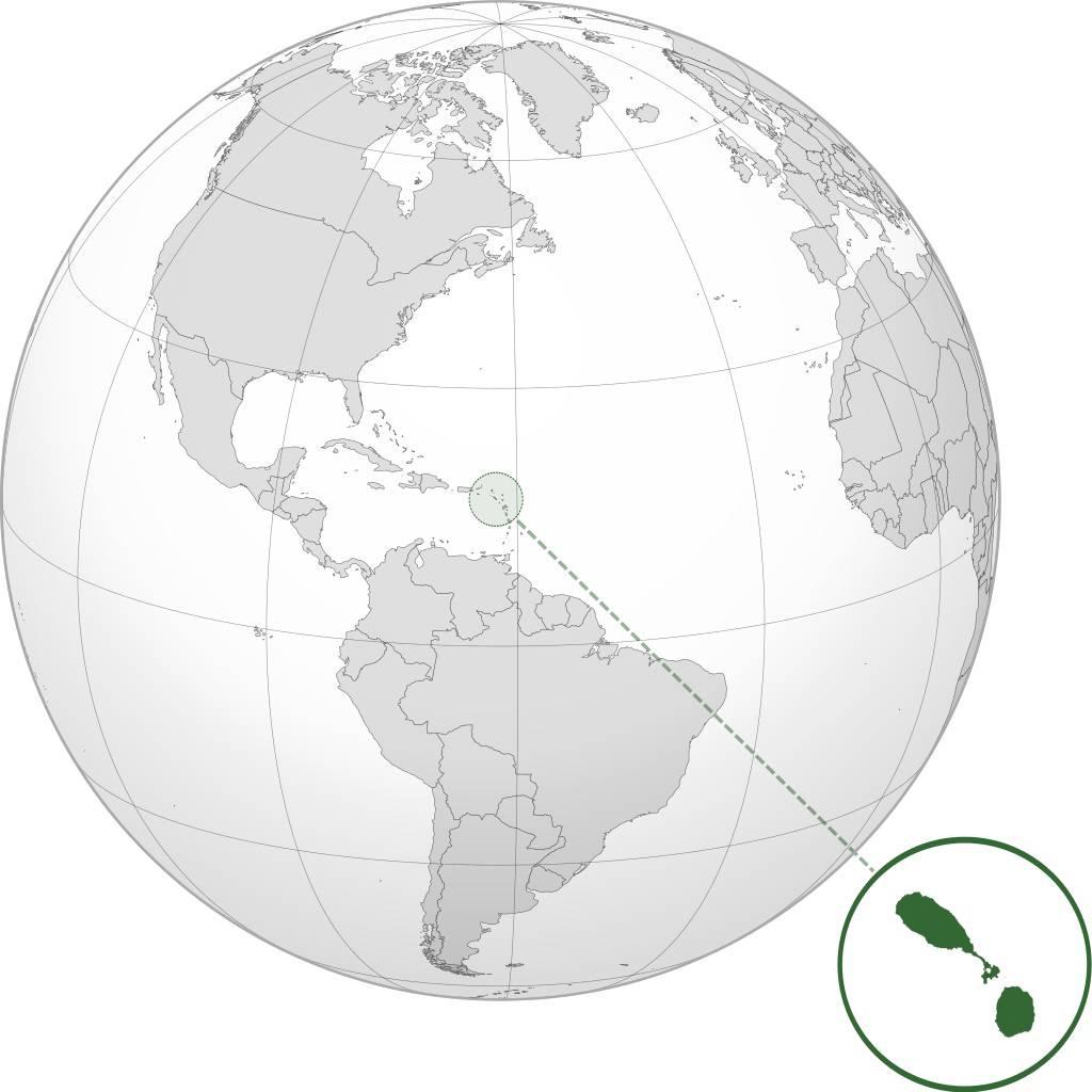 Saint-Christophe-et-Niévès carte de l'Amérique
