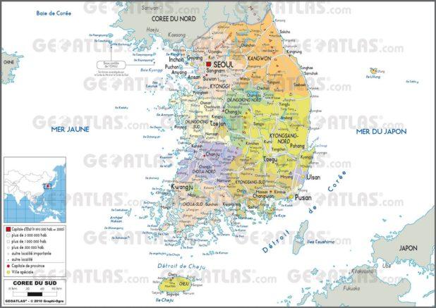 Carte administrative de la Corée du Sud