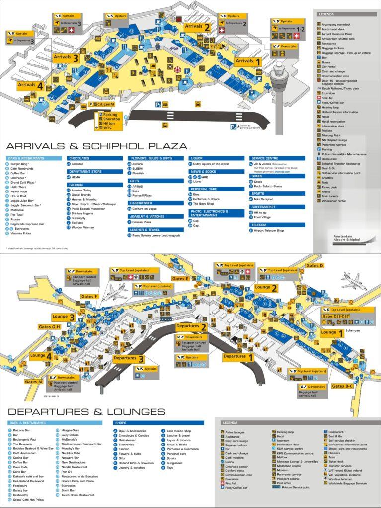 Carte de l'aéroport d'Amsterdam