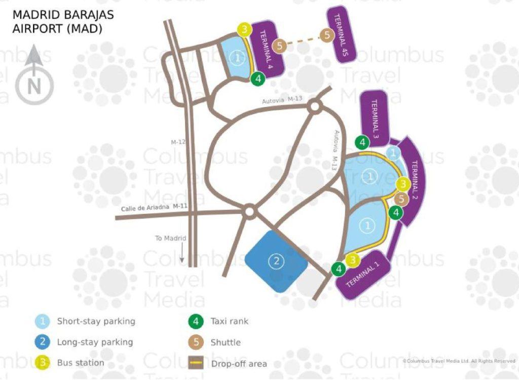 Carte des aéroports de Madrid