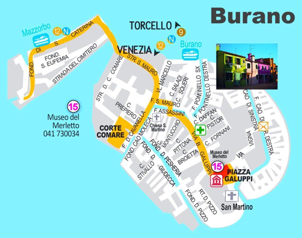 Carte de Burano à Venise