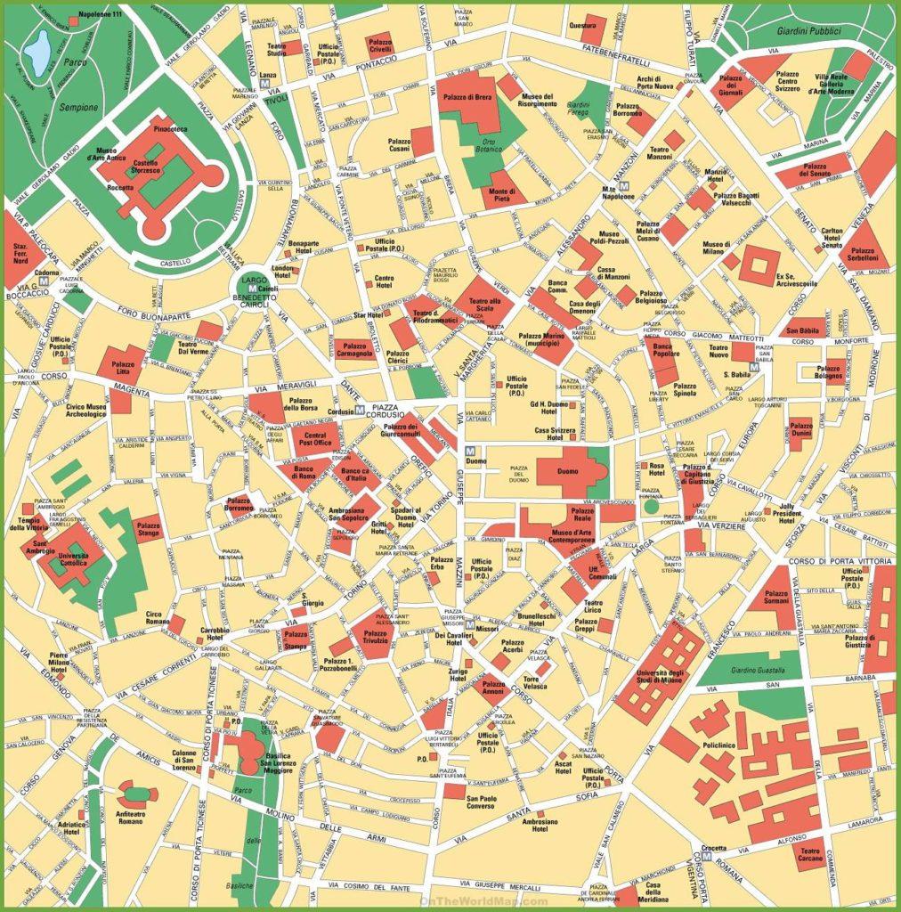 Carte du centre-ville de Milan