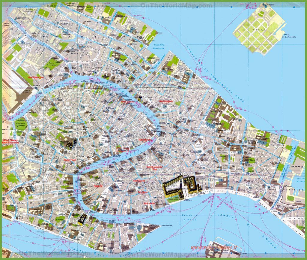 Carte du centre-ville de Venise