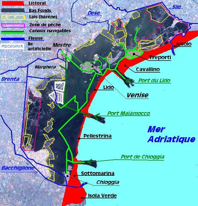 Carte de la lagune à Venise