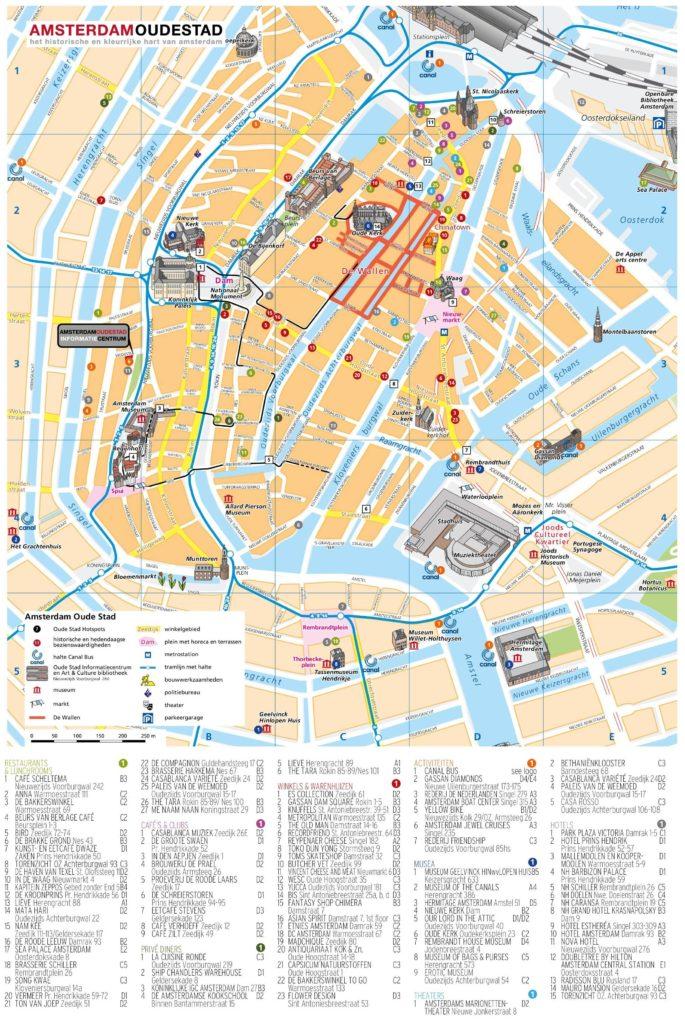 Carte des lieux d'intérêts à Amsterdam