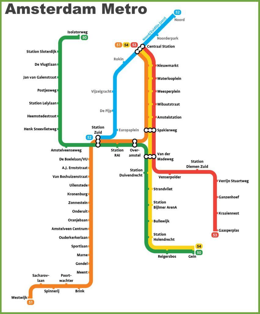 Carte du métro à Amsterdam