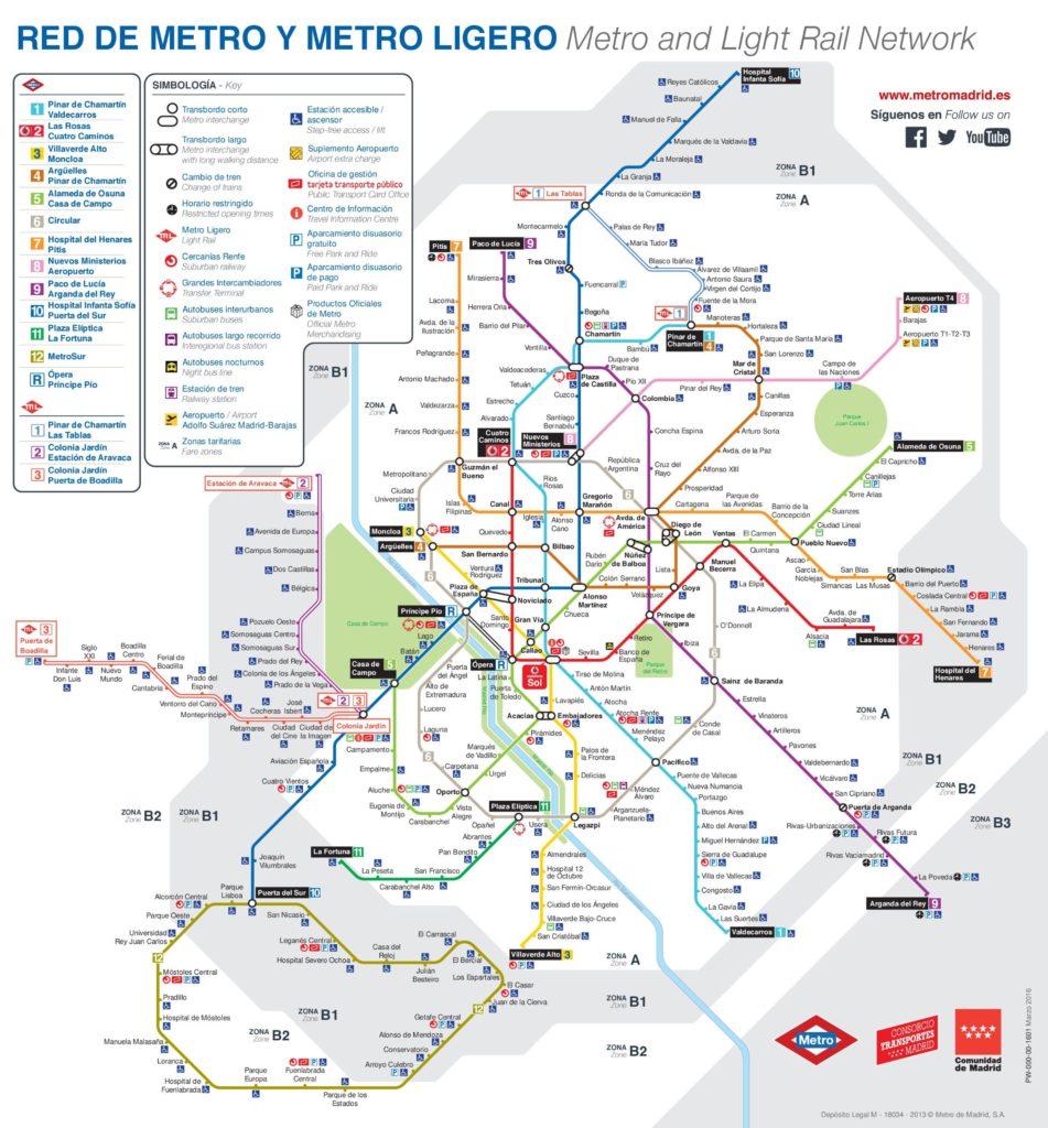 Carte du métro à Madrid