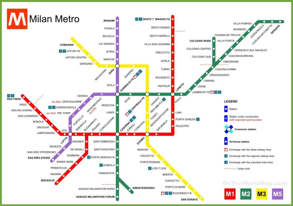 Carte du métro de Milan