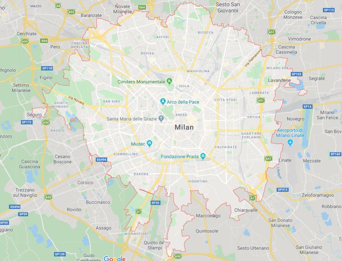 Carte de Milan en Italie - Plusieurs cartes de la ville en Lombardie