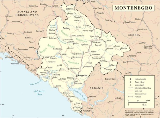 Carte politique du Monténégro