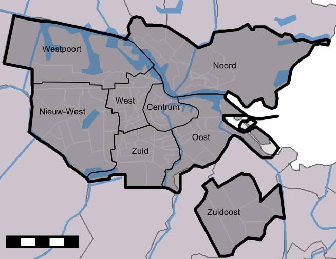 Carte des quartiers d'Amsterdam