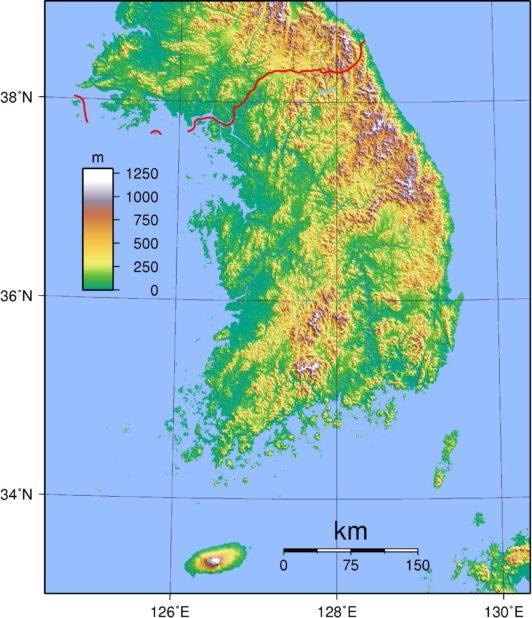 Carte du relief de la Corée du Sud