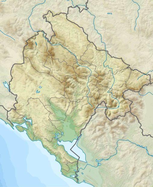 Carte du relief du Monténégro