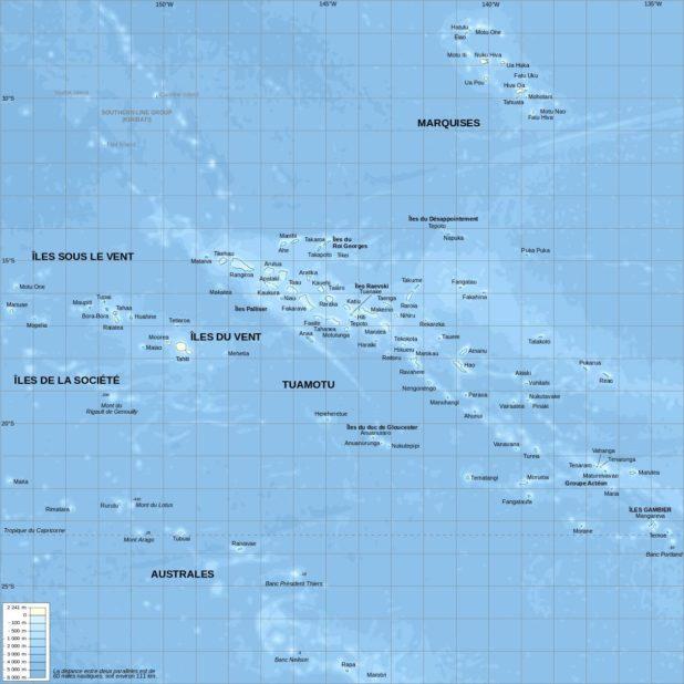 Carte du relief de la Polynésie française