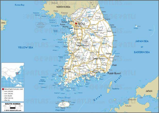 Carte routière de la Corée du Sud