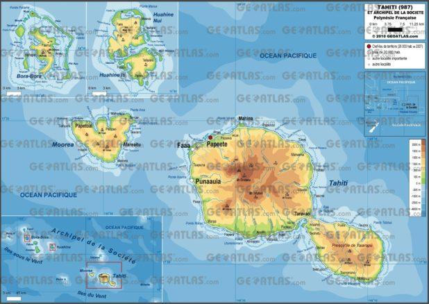 Carte de Tahiti en Polynésie française