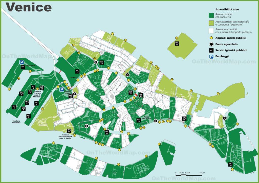 Carte des toilettes publiques à Venise