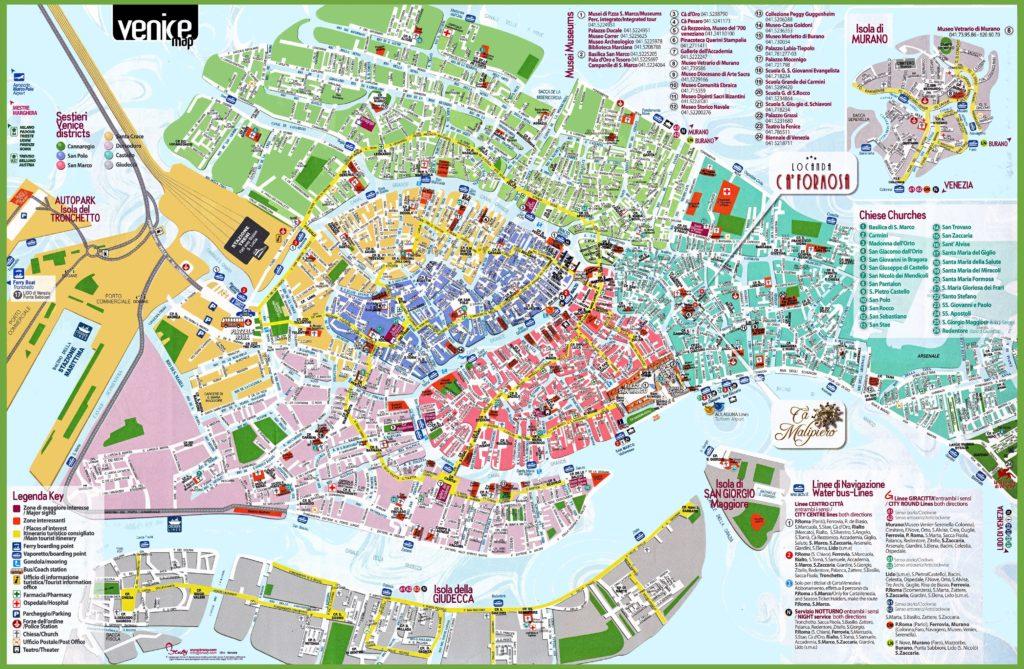 Carte du tourisme à Venise